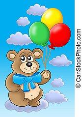 Teddy bear with color balloons on blue sky. - Teddy bear...