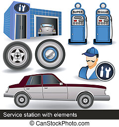 service station with elements - Illustration of a service...