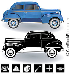 vintage car set 3 - Illustration of vintage sport car...
