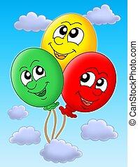 Błękitny, niebo, balony, trzy
