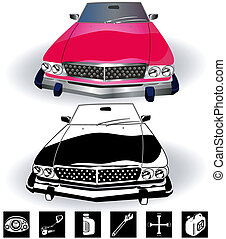 vintage car set 2 - Illustration of vintage sport car...