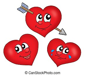 Three cartoon hearts - color illustration.