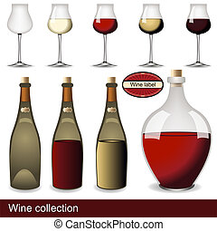 wine collection - Collection of different wine illustrations...