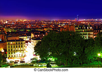 Night view of Paris from the hill of Montmartre.Paris....