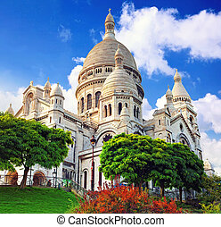 Sacre Coeur Cathedral on Montmartre , Paris, France.