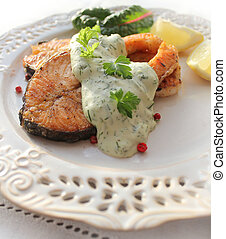 Roasted salmon with sauce
