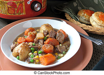 Crock Pot Beef Stew - Beef stew, hot from the slow-cooker,...