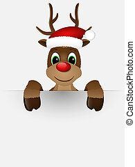 Reindeer with red nose and Santa hat. - Reindeer with red...
