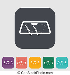 Wiper car single icon. - Wiper car single flat icon. Vector...