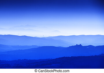 Tuscany Landscape at blue hour - Landscape of Tuscany with...