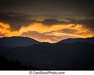 Tuscany with golden clouds - Landscape of Tuscany with...