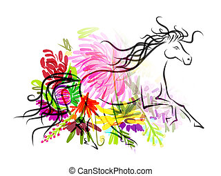 Horse sketch with floral decoration for your design. Symbol...