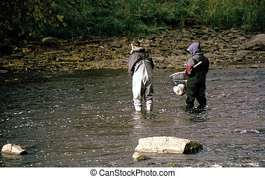 Fly Fishing FF-1005 - Man fly fishing in a slow moving...