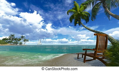 Palm trees and deckchair on a beach - Realistic 3d animation...
