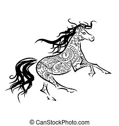 Horse sketch with floral ornament for your design. Symbol of 2014 year