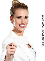 business woman showing a blank business card on white...