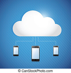 cloud computing storage connected to phones. illustration...