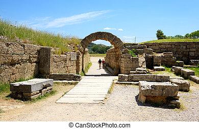 a, entrada, antiga, Olympia, estádio, Peloponnes,...