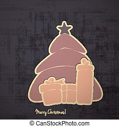 mc sticker - merry christmas paper stickers with tree on...