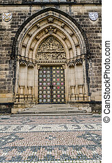 Neo-Gothic portal,Church Peter and Paul Prague - Neo-Gothic...