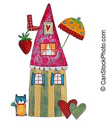 fairy tales house - artistic work, watercolors on paper