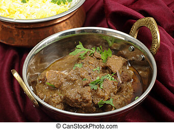 Beef rogan josh in a a balti dish - Homemade beef rogan josh...