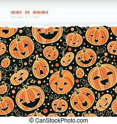 Halloween pumpkins horizontal torn frame seamless pattern background