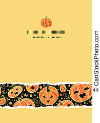 Halloween pumpkins vertical torn frame seamless pattern...