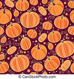 Thanksgiving pumpkins seamless pattern background - vector...