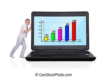 man pushing big laptop - businessman pushing big laptop with...