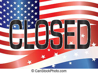 US Government Shutdown Closed Sign Illustration - Government...