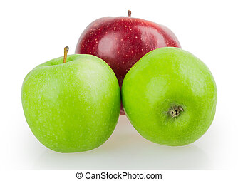 three apples red green isolated on white background
