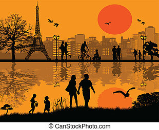 Paris cityscape background - Vector design background with...