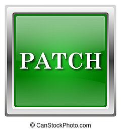Patch icon - Metallic icon with white design on green...
