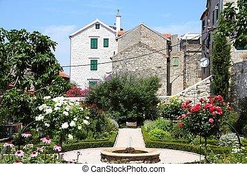 Sibenik - Croatia - Sibenik in Dalmatia. Old town garden.