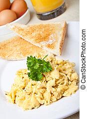 Healthy breakfast of scrambled