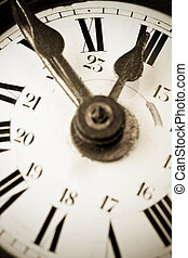 Ten to twelve on a old clock face