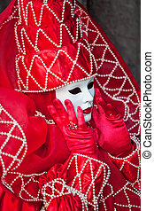 Venice carnival costume - Red costume with white pearls at...