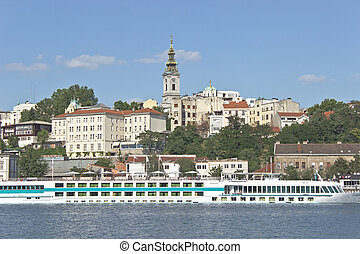 Belgrade river harbour and old town