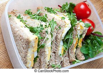 saudável, ovo, sanduíche, almoço