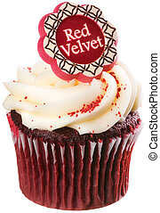 Red Velvet Cupcake with White Frosting Isolated