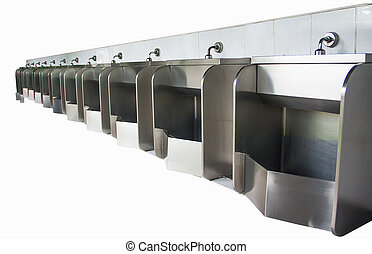 stainless urinals - row of urinals stainless was fresh for...