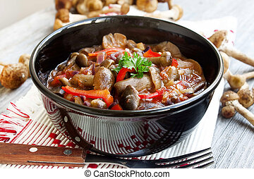 Fresh mushroom stew with red pepper and parsley - fresh...