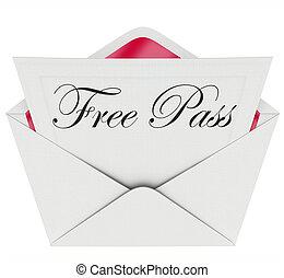 libre, pase, invitación, tarjeta, sobre, abierto,...