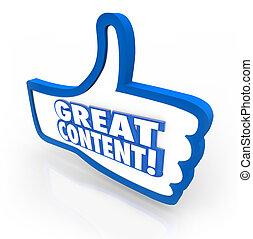 grande, contenido, pulgares, Arriba, reacción, sitio...