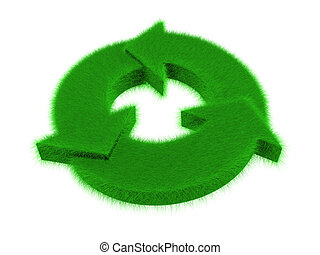 grass recycle logo - An isolated green grass recycle logo on...