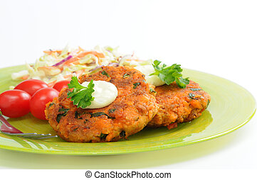 Salmon Cakes - Fresh homemade salmon cakes served with...