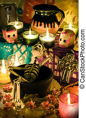 Mexican day of the dead altar (Dia de Muertos) - Traditional...