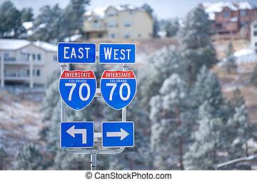 Colorado interstate - Interstate I-70 near Denver in...