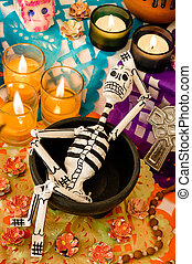 Mexican day of the dead offering (Dia de Muertos)